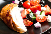 Roasted chicken breast with vegetables — Stock Photo