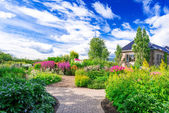 Flowerbed at Botanical garden — Stock Photo