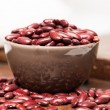 Bowl with raw red beans — Stock Photo