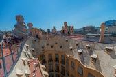 Tourists on Casa Mila Barcelona Spain — Stock Photo