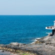 Outdoor cafe on rocky cliff at Las Americas — Stock Photo #44322961