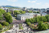 17 may oslo norway celebration top view on street — Stock Photo