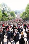 17 may oslo norway parade on main street — Stock Photo