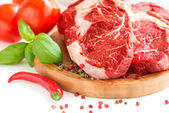 Organic red raw steak — Stock Photo