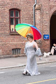 Lady with umbrella — Stock Photo