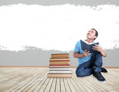 Man With Book Concept - Reading Imagination — 图库照片