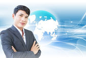 Smart Businessman With Background — Stock Photo