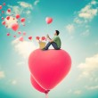 Man With Heart Balloons,Valentines Day Background — Stock Photo
