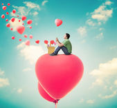 Man With Heart Balloons,Valentines Day Background — Stock fotografie