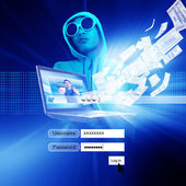 Hacker With Log On Screen,Computer Fraud,Financial Fraud, Concept Background — Stock Photo
