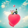Man With Heart Balloons,Valentines Day Background — Stock Photo #50329153