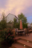 Patio at sunset — Stock Photo