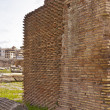 Close up of brick wall of Roman Forum  composed of thin clay bri - Stock Photo