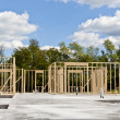 New house construction on slab foundation - Stock Photo