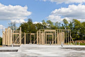 New house construction on slab foundation — Stock Photo