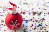 Christmas festive background with baubles — Stock Photo