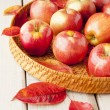 Tray with autumn apples on rustic wood table — Stock Photo