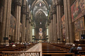 Interior of Duomo cathedral on Piazza del Duomo. Milan, Italy — Stock Photo