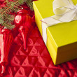 Christmas decoration and gift box — Stock Photo