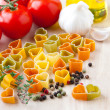 Cooking with love. Ingredients for Italian cuisine: heart shape — Stock Photo