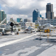 Постер, плакат: View of San Diego downtown from the Aircraft carrier Midway as a