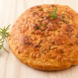 Stock Photo: Homemade round Italirosemary Focaccibread.