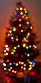 Defocused colorful Christmas tree lights — ストック写真