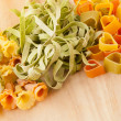 Variety of types and shapes of Italian pasta. — Stock Photo