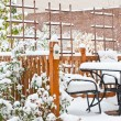 Stock Photo: Snow on garden patio, winter scenery