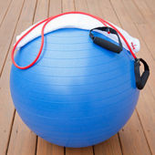 Exercise equipment for healthy lifestyle - fitness ball, expande — Stock Photo