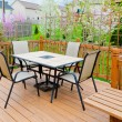 Stock Photo: Patio of family home in early spring.