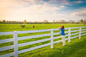 Woman enjoying countryside view with green pastures and hors — Stock fotografie
