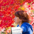 Thoughtful women on blurry autumn background — Stock Photo