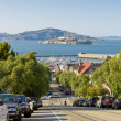 Street overlooking Alcatraz in San Francisco, USA — Stock Photo