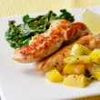 Stock Photo: Roasted chicken breast with saute kale and squash vegetables