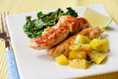 Roasted chicken breast with saute kale and squash vegetables — Stock Photo