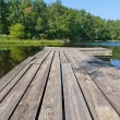 Stok fotoğraf: Small country lake with wooden pier.
