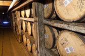 Bourbon barrels aging in Buffalo Trace Distillery. — Stock Photo