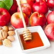 Apples, nuts and honey — Stock Photo