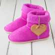 Pink winter boots — Stock Photo