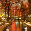 River walk  in San Antonio city at night at holiday season — Stock Photo