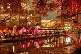 River walk in San Antonio city at night at holiday season — Stock Photo