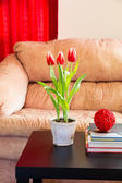 Red tulips in modern living room. — Stock Photo