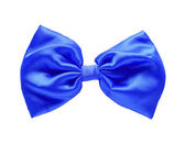 Blue satin gift bow. Ribbon. Isolated on white with clipping pat — Stock Photo