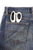 Jeans with scissors — Stock Photo