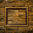 Stock Photo: Wood frame on brick wall