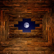 Night sky with light through the hole in the brick wall — Stock Photo #19101339