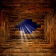 Night sky with light through the hole in the brick wall — Stock Photo #19101405