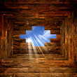 Blue sky with sunlight through the hole in the brick wall — Stock Photo