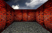 Room with a brick wall, the sky background — Stock Photo